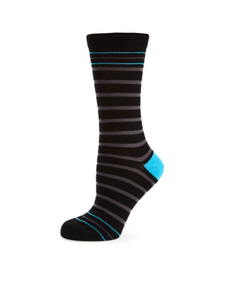 Women's black bamboo socks with stripes