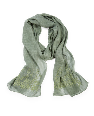 Women's green embroidered scarf