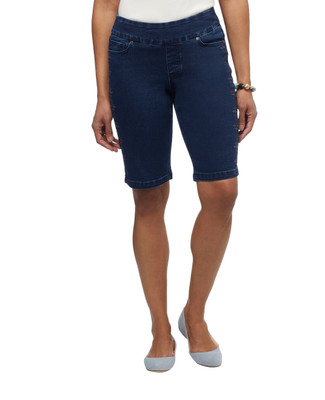 Women's embroidered jean bermuda shorts