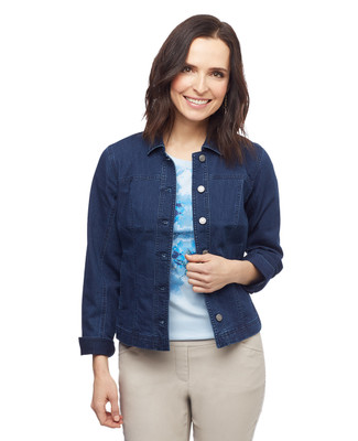 Women's petite dark wash denim jacket