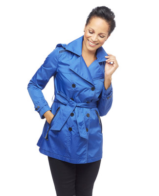 Women's blue short trench coat with detachable hood