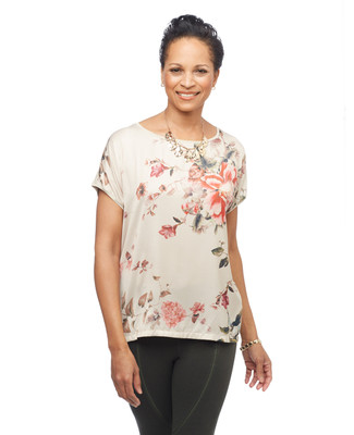 Women's peony floral printed top