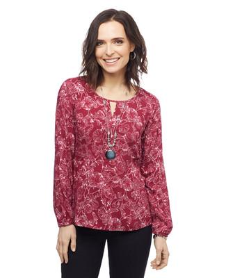 Women's petite floral dressy top