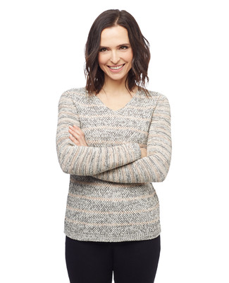 Women's stripe tape yarn pullover