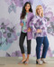 Women's lilac floral pintuck detailing blouse