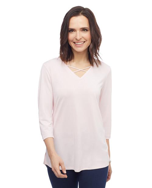 Women's three quarter sleeve criss cross V neck top