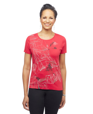 Women's red short sleeve abstract graphic tee