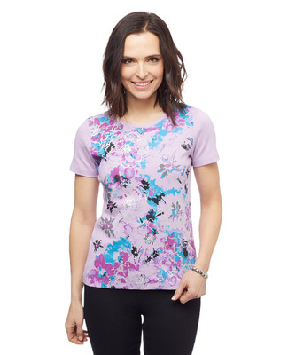 Women's lilac purple short sleeve floral watercolour graphic tee