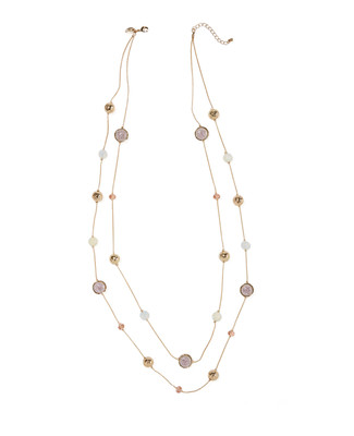 Women's lilac stone and gold long layered necklace