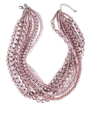 Women's lilac short layered statement necklace