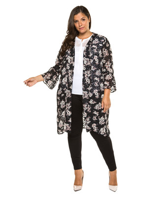 Women's plus Amanda Green black floral printed kimono.