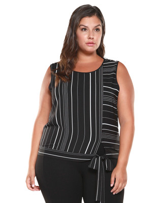 Women's plus Amanda Green black stripe tie front blouse.