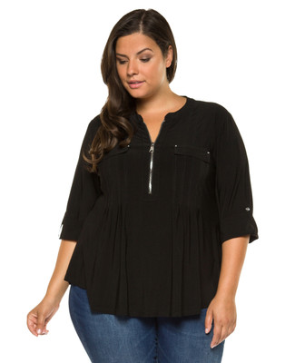 Women's plus Amanda Green black pin tuck zip neck blouse.