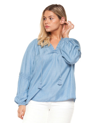 Amanda Green PLUS Denim Peasant Blouse