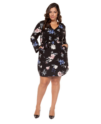 Women's Amanda Green PLUS black floral wrap dress.