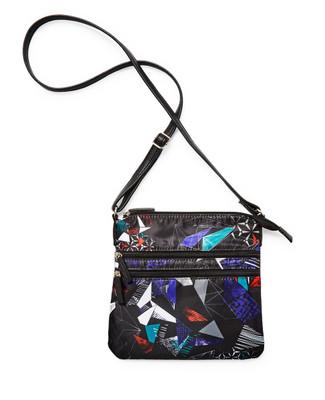 Women's black geometric printed crossbody purse with adjustable straps