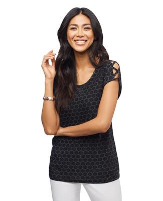 Women's printed cap sleeve top with braided shoulders.