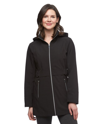 Women's black lightweight soft shell anorak jacket with buckle detailing