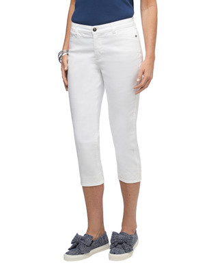 Women's white straight fit embroidered jeans