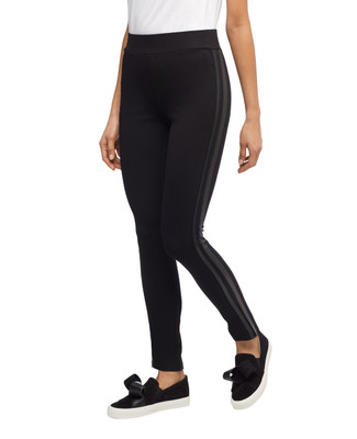 Women's black pull on ponte leggings with side seam pleather trim