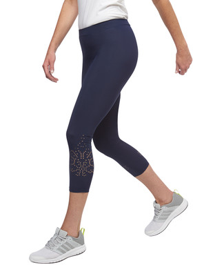 Women's navy Point Zero laser cut pull on leggings