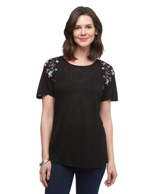 Women's Amanda Green black floral embroidered knit tee