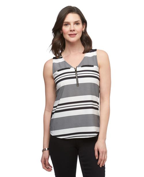 Women's black and white stripe Point Zero sleeveless top