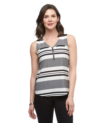 Women's black and white stripe Point Zero sleeveless top