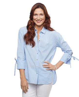 Women's crystal blue stripe button up shirt with hi lo hem
