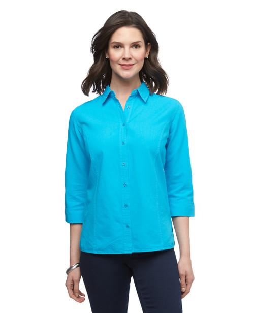 Women's three quarter sleeve garment dye button up shirt
