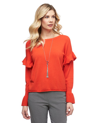 Women's Amanda Green orange three quarter sleeve ruffle pullover sweater