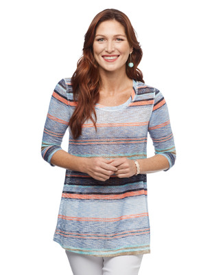 Women's crystal blue stripe colour blocking knit top