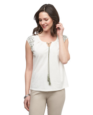 Women's vanilla cotton crepe embroidered sleeveless top with tie front neck