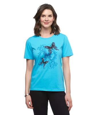 Women's turquoise butterfly graphic crew neck cotton tee