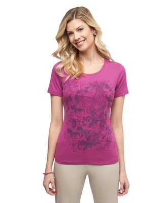 Women's purple butterfly graphic crew neck cotton tee