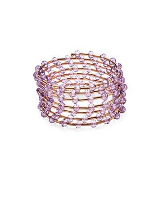 Women's lilac beaded coil bracelet