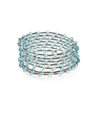 Women's sea blue beaded coil bracelet