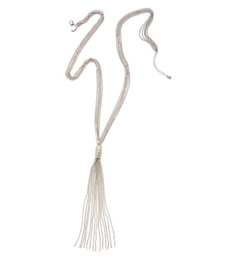 Women's long silver tassel necklace