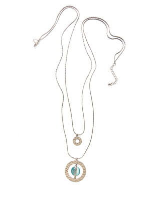 Women's sea blue and silver layered necklace