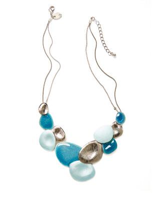 Women's sea blue floral bib necklace