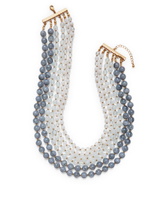 Women's sea blue beaded layered necklace