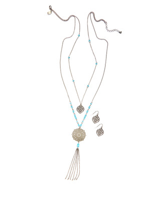 Women's silver and sea blue layered necklace