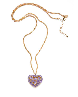 Women's long gold chain neck with lilac heart pendant