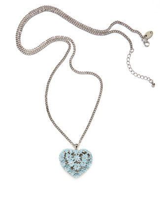 Women's long silver chain neck with sea blue heart pendant