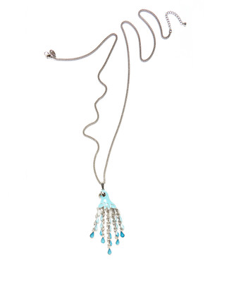 Women's sea blue long parrot necklace