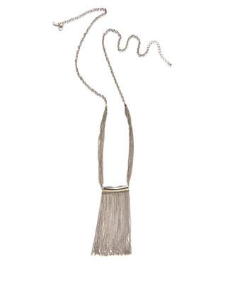 Women's long silver tassel chain necklace
