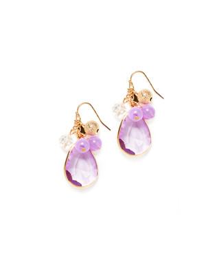 Women's lilac ball drop dangle earrings