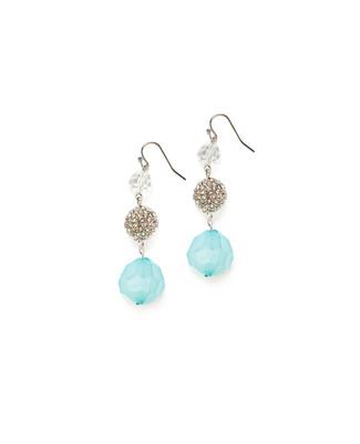 Women's sea blue ball drop dangle earrings