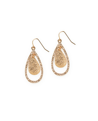 Women's gold teardrop earrings