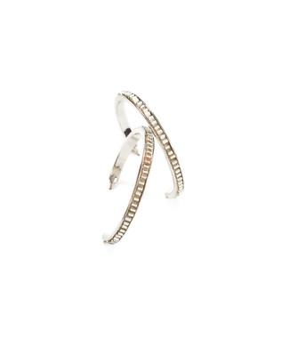 Women's silver beaded hoop earrings